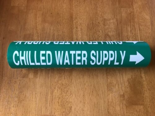 QTY  5 - Setmark Snap-Around Pipe Markers - CHILLED WATER SUPPLY NEW FAST SHIP