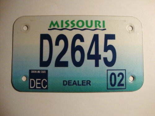 Vintage 2002 Missouri Motorcycle Dealer License Plate # D2645