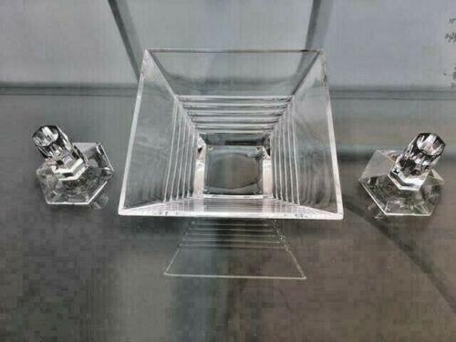 Tiffany & Co. - Frank Lloyd Wright Foundation - 1986 Crystal Candlesticks & Bowl