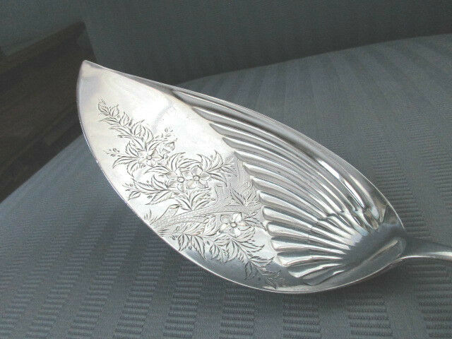 GORHAM FISH Server CLEMATIS 1885 STERLING SILVER .925 RARE Serving Bright Cut