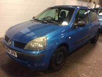 2004 RENAULT CLIO 1.2 PETROL MANUAL BLUE GOOD DRIVE CHEAP CAR MOT 3 DOOR HATCHBACK NOT CORSA POLO KA