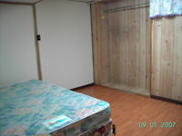 one apartment unit (with private entry) is available