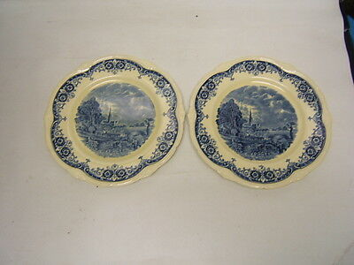Scenes After Constable Blue Grindley Lot of 2 Dinner Plates Vine Edge Cream