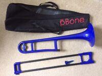 Blue PBone Trombone plus gig case - never used