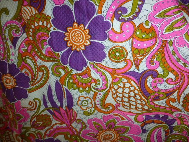 Vtg Fabric MOD Hawaii paisley flower dress waffle cotton ScreenPrint Ultra Apsco