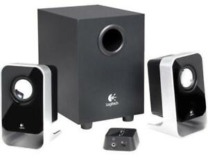 Logitech LS21 computer speakers with subwoofer and wired remote