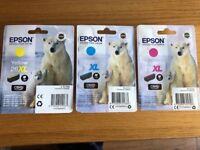 Genuine EPSON printer inks 26XL in Yellow, Cyan and Magenta. Original packaging unopened