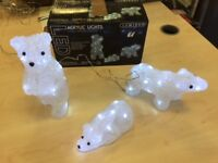 3 illuminated polar bears. Acrylic