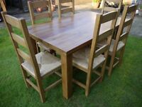 Pine 5ft table and 6 chairs
