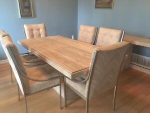 DeBoer's Carrera Marble  Dining Table set w/couch - chairs