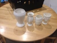 Collection of vintage white ceramic vases