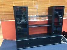 Wall Unit / Display Cabinet - Black with Glass Doors Eagle Farm Brisbane North East Preview