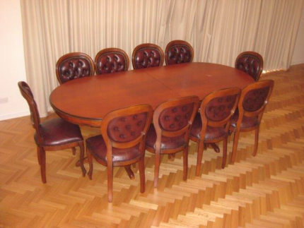 Solid timber pedestal dining table  w/ 12 leather chairs