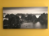 black & white printed canvas of Vietnam