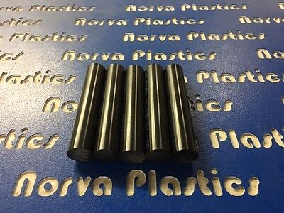 "DELRIN ROD VALUE BOX- 5 PCS 1"" DIA BLACK X 5"" LONG FREE SHIPPING"