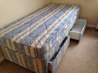 Single divan bed with drawers underneath good clean mattress