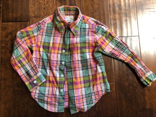 Peek Kids Boys Button Up Flannel Shirts Pink Multi Color Size XS 2 - 3 yrs