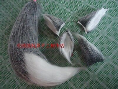 Wolf Fox Party Ears Tail long fur Plush Halloween Cosplay Costume Prop Custom