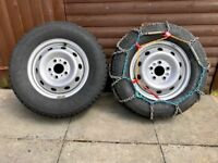 Fiat Ducato winter Tyres on Steel Wheels (5) with snow chains