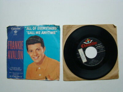 Everything 45 Rpm Records - (2) Frankie Avalon 45 rpm Records Swingin' on a Rainbow All of Everything 1960's