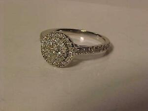 #889-14K WHITE Gold DIAMOND (.44ct)ENGAGEMENT RING-Size 5 1/2-APPRAISED VALUE $1,900.00-PURCHASE FOR JUST $595.00