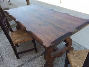 SOLID PLANK HARVEST TABLE WITH TWO CHAIRS GREAT DEAL!!!!