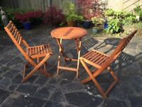 Round Wooden table and 2 chairs - as new