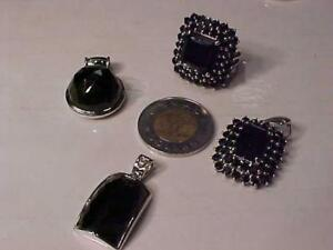 #1327- Exquisite Sterling Silver and Black Quartz? 4 pc pendent and ring set Ring is size 8 3/4  Package deal $200.00