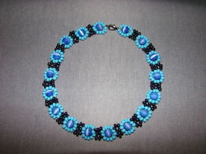 Blue Cat's Eye Sapphire and Hematite Beaded Choker