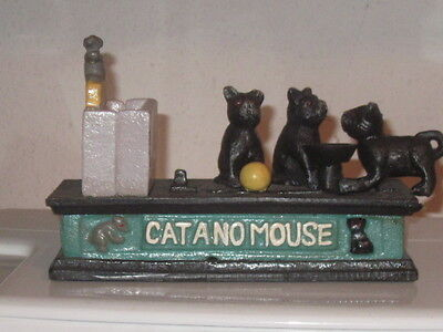 Gusseisen Spardose cat and mouse Katze und Maus NEU!