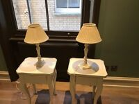 Pair of white Laura Ashley table lamps with lamp shade - excellent condition