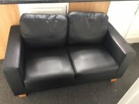 Black Chesterfield 2 Seater Sofa - Faux Leather (Hardly Used)