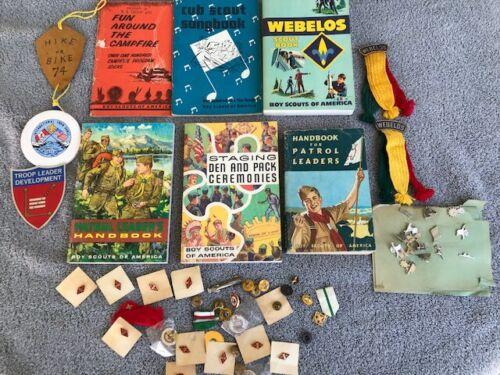 Vintage Boy Scout Handbook Webelos BSA Pins Books Camping LOT