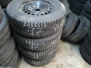 245/65 R17 FIRESTONE WINTERFORCE WINTER TIRES ON FORD EXPLORER STEEL RIMS USED SNOW TIRES (SET OF 4 - $575.00) - APPROX.