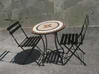 CHARMING BISTRO MOSIAC TABLE & CHAIRS