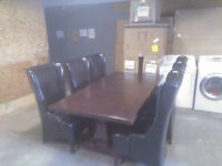 7ft cherry oak dinning room table & chairs