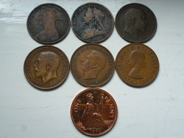 LARGE/OLD VICTORIA + OTHER KINGS/QUEENS ONE PENNY 1860/1970 YOUR CHOICE OF YEAR