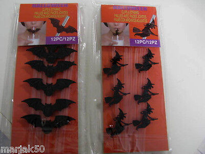 HALLOWEEN CLIPS AND STRAWS 6 CLIPS AND 6 STRAWS- WITCHES OR BATS-PLASTIC-CELEBRA - Halloween 6 Clips