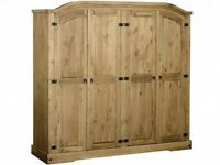 Wardrobe 4 door solid wood pine NEW