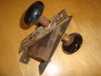 VINTAGE ANTIQUE DOOR LOCK WITH SET OF BLACK PORCELAIN DOOR KNOBS