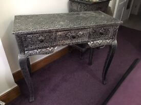Blackened Silver Metal Embossed Dressing Table/Console table