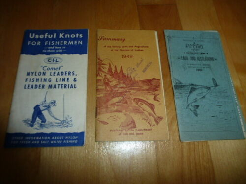 Vintage Fishing laws regulations Quebec and Useful Knots booklets guide nice