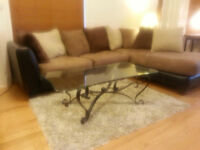 Leon's Like New Microfiber + Leather  Sectional Couch Sofa Set