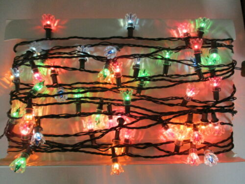 Vintage Christmas Light String Clear Flower Reflectors Colored Lights 100+