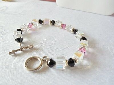 Vintage Pink, Black & Clear Beaded Bracelet on Rummage