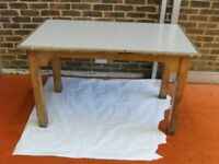 Table for sale . Wooden frame and melamine top . Size : H=76cm , W=127cm , D=74cm