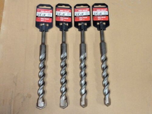 """Lot of 4 ITW Red Head 3/4"""" x 8"""" SDS-Plus Masonry Concrete Drill Bit 3/4 8 inch"""
