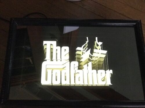 """""""The Godfather"""" Promo Video Cassette Release Lighted Mirror Sign 1991 VHS Light"""