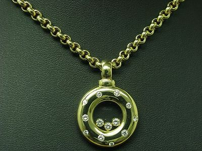CHOPARD 18kt 750 GELB GOLD KETTE & ANHÄNGER MIT 0,69ct BRILLANT BESATZ / 65 cm