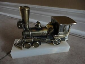 Solid brass marble base train decorative statue accent London Ontario image 7